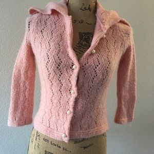 Free People wool blend baby pink cropped sweater